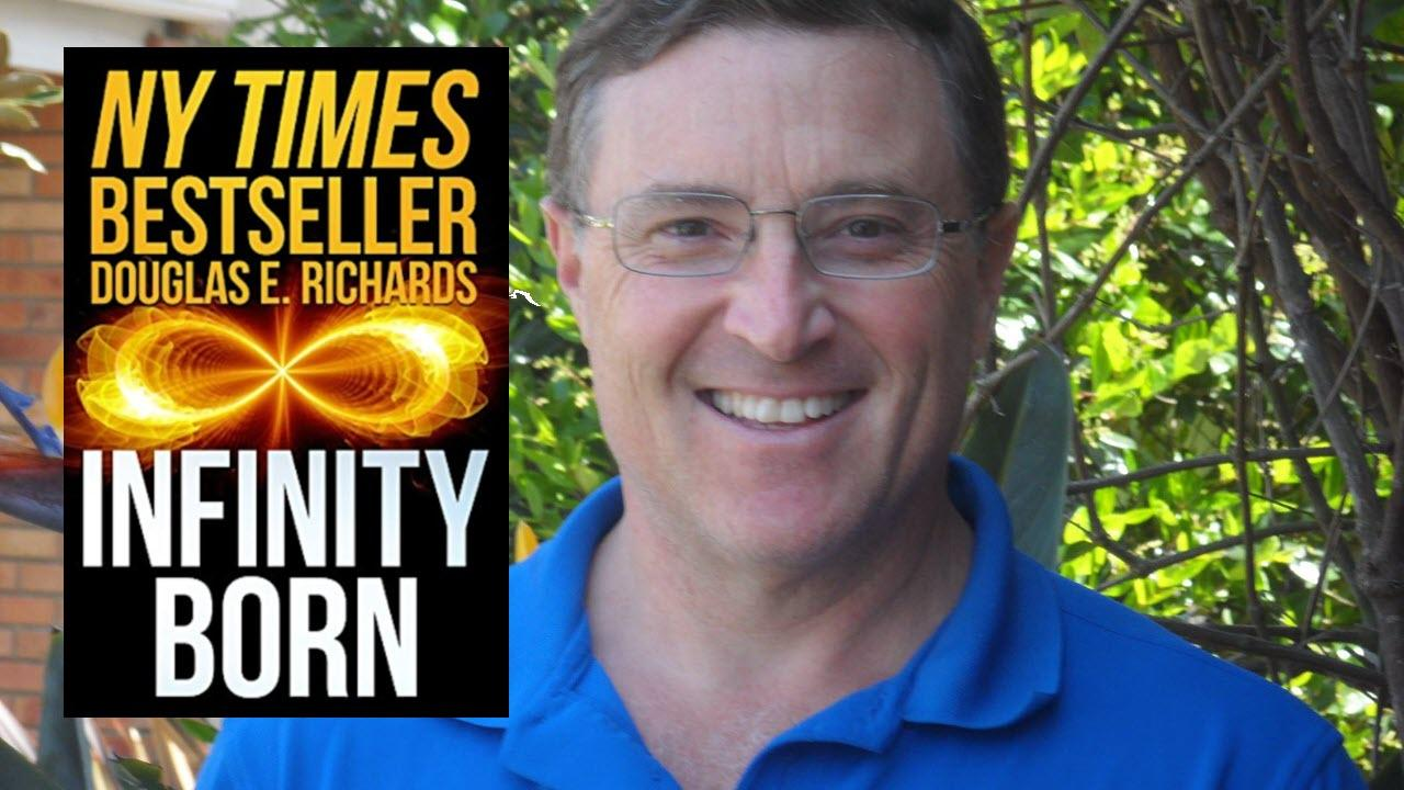 Author Douglas Richards and cover of Infinity Born