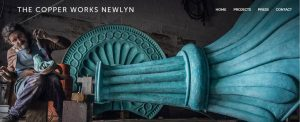 The Copper Works Newlyn Website header showing artist at work and some amazing pieces