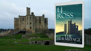 The Hermitage by LJ Ross Banner 2 showing book cover and Warkworth Castle as background
