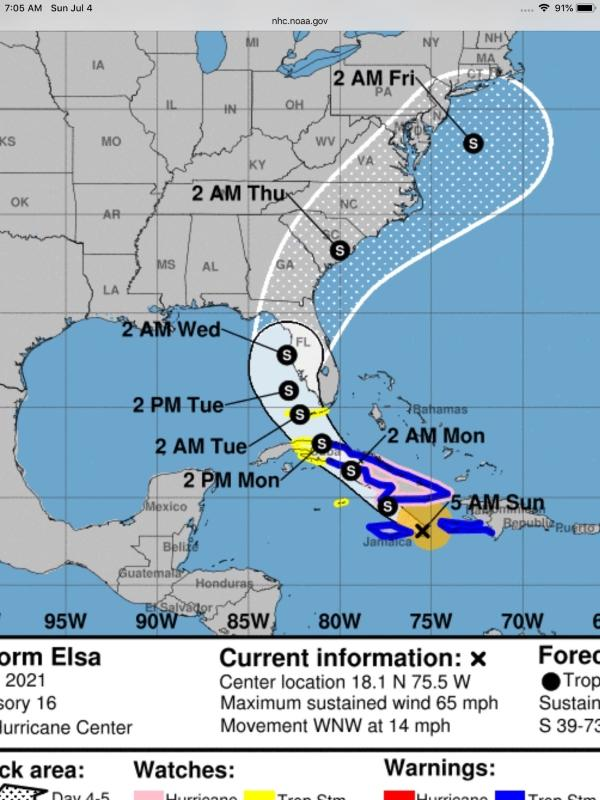 Tropical Storm Elsa July 2021